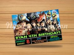 How To Train Your Dragon Design Invitation - Digital File Dragon Party, Dragon Design, Digital Invitations, How To Train Your Dragon, Invitation Design, Httyd, Train Your Dragon