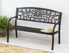 Furniture,Cast Vine Metal Bench with Bronze Finish,Metal,50.5x22x34 Inches by Highland Crafts. $149.88