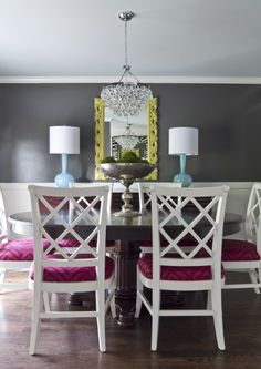 love the mix of colors, need more inspiration for this in my house. White, Blue, Yellow and purple dining room