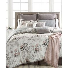 Kelly Ripa Home Pressed Floral 10-Pc California King Comforter Set, ($180) ❤ liked on Polyvore featuring home, bed & bath, bedding, comforters, blush, flowered bedding, queen bed linens, floral bedding, floral queen comforter and queen comforter