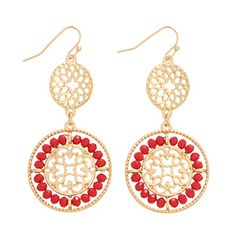 """2 1/4"""" Gold tone fishhook style earrings featuring a filigree decor accented by small faceted red tone beads."""