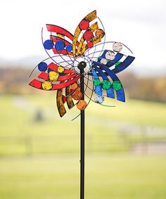 Loving this Multicolor Flower Wind Spinner Kinetic Garden Stake on #zulily! #zulilyfinds