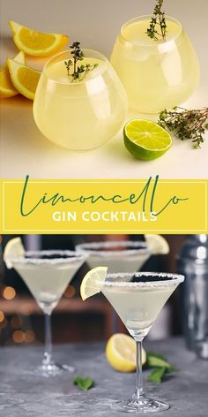 Limoncello Cocktails, Best Gin Cocktails, Gin Cocktail Recipes, Spring Cocktails, Refreshing Cocktails, Summer Drinks, Cocktails Made With Gin, Italian Cocktails, Popular Cocktails