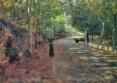 Santiago Rusiñol i Prats - was a post-impressionist Catalan painter and writer. Anfiteatro verde, Oil on canvas,. Garden Drawing, Garden Painting, Painting Art, Spanish Painters, Spanish Artists, Dappled Light, Ideal Beauty, Garden Park, Post Impressionism