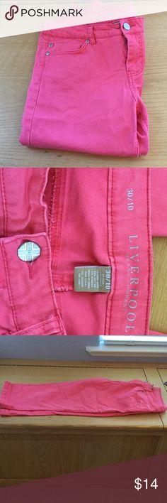 Capris. Like new condition. Size 10 Like new. Bought new, wore once and washed. Too big for me. Size 19 30 waist. 98% Cotton ( Jean material) 2% spandex. Very nice and summery color! Liverpool jeans company, a good quality brand. Color is Fuchsia. Liverpool Jeans Company Pants Capris