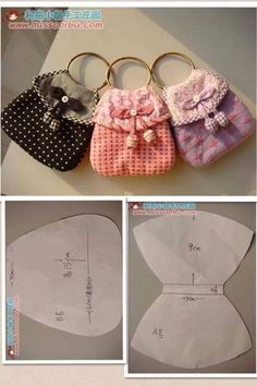 Pattern is for sweet keychain purses.  Scale up with memory wire for cute little girl bangle purses?