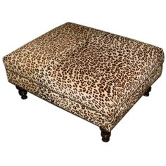 New Brown Cocktail Ottoman Footrest Modern Oversize Zebra Print Coffee Table Meredith