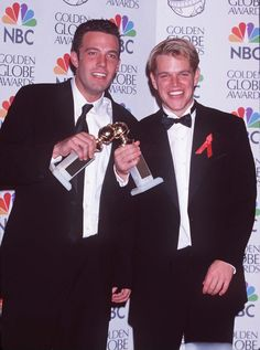 Pin for Later: A Look Back at Years of Glamorous Golden Globes  Ben Affleck and Matt Damon celebrated their exciting 1998 win in the press room.