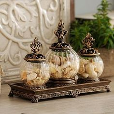 Style your table space in simple elegance with decorative jars and apothecary jars at Kirkland's! Find a jar that fits your design and browse our selection now. Glamour Decor, Kitchen Items, Kitchen Decor, Apothecary Jars Decor, Powder Room Decor, Tuscan Design, Tuscan Style, Tuscan Decorating, Decorated Jars