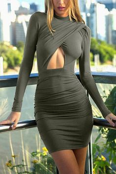 Green High Neck Wrap Dress With Cutout Detail