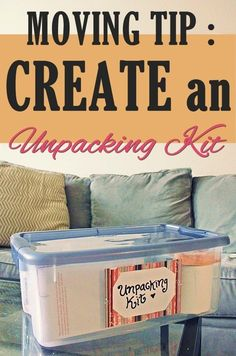 Tip: Create An Unpacking Kit Great idea -- creating an Unpacking Kit for relocating/home moving! (via idea -- creating an Unpacking Kit for relocating/home moving! Moving House Tips, Moving Home, Moving Day, Moving House Quotes, Moving Costs, Moving To Texas, Moving Organisation, Organization Hacks, Organizing For A Move