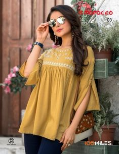 Morrocco Link given in bio 🛍 Color ⚡⚡Golden Fabric ✔️✔️Rayon Within business days✔️💯 Free and Easy return 👇 DETAILS 👇 Fabric : Heavy Rayon Slub Work : Beautiful Embroidery Work Size : M, L, XL & XXL Short Kurti Designs, Silk Kurti Designs, Kurta Designs Women, Kurti Designs Party Wear, Kurti Sleeves Design, Sleeves Designs For Dresses, Sleeve Designs, Stylish Dresses For Girls, Short Tops