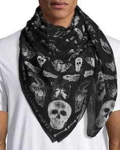 ALEXANDER MCQUEEN Men'S Bones & Butterfly Silk Scarf, Black. #alexandermcqueen #