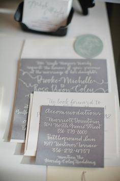 Gray and Cream full calligraphy wedding invitation suite    www.hardinkcalligraphy.com
