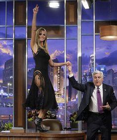 Heidi Klum Shows Major Thigh, Dances On Tables For Leno