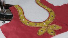 Paithani Saree blouse design cutting and stitching Churidhar Neck Designs, Simple Blouse Designs, Saree Blouse Neck Designs, Dress Neck Designs, Hand Designs, Embroidery Neck Designs, Designer Blouse Patterns, Stitching, Shiva Linga