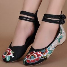 Floral Print Color Match Chinese National Style Vintage Button Flat Shoes