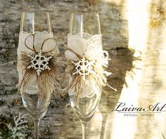 Snowflake Wedding Champagne Glasses Winter Wedding Christmas Wedding Holiday Wedding Champagne Flutes   Set Of 2 Champagne Flutes - Bride and Groom