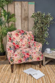 The old school design of this pink roses print velvet armchair is very popular and adds a traditional flair, but with a modern edge. Padded and comfy, the sumptuous plump of the upholstery and generous seat injects a country cottage feel and a homely aura. Shake off your wellies and put the kettle on. Supplier Info: Th