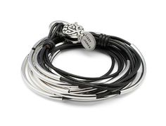 lizzy classic 4 strand wrap bracelet in metallic gunmetal leather with filigree clasp SO WANT THIS!!!