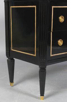 Directoire Style Ebonized, Marble-Top Commode image 5