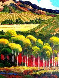 Tuscany Hills And Valleys~ Gene Brown Landscape Art, Landscape Paintings, Acrylic Artwork, Brown Art, Southwest Art, Naive Art, Art Techniques, Painting Inspiration, Unique Art
