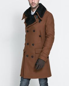 """COAT WITH FUR COLLAR - Coats and Trench coats - Man 
