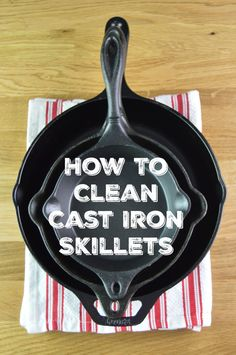 How To Clean Cast Iron Skillets Naturally - Give your old cast iron new life with a couple of household ingredients and start cooking with them again! via @Mom4Real