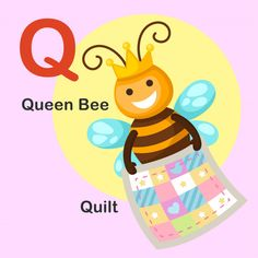 Illustration Isolated Animal Alphabet Letter Q-quilt,queen Bee Body Parts Preschool, Flashcards For Toddlers, Quiet Book Patterns, Animal Alphabet, Alphabet Letters, Kids English, Learning The Alphabet, Queen Quilt, Queen Bees