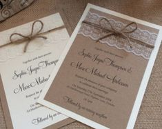 Vintage/Rustic Lace wedding invitation with twine - Sophie-Lace range