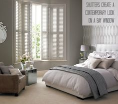 9 Attentive Tips: Bedroom Blinds Cornice Boards sheer blinds modern.Blinds Window Diy wide blinds for windows.Modern Blinds And Curtains. Bedroom Blinds, Bedroom Windows, Home Bedroom, Master Bedroom, Bedroom Decor, Bedroom Shutters, Bedroom Ideas, Gray Bedroom, Bay Window Bedroom