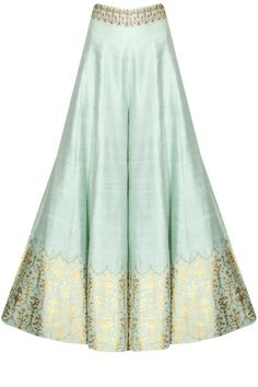 This Sharara setfeatures a mint green anarkali kurta in dupion base with white yellow flowers embroidery on the yoke. The sleeves of this sharara set appliqued