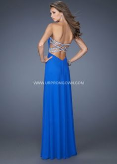 Electric Blue Strapless Open Back Prom Dress by La Femme 19975