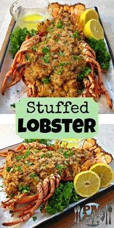 Watch the Video Tutorial Stuffed Lobster- it s got creamy Shrimp Bay Scallops and Crab Meat mixed into the Stuffing with a light drop biscuit breading and Bacon Poor Man s Gourmet Kitchen Lobster Dishes, Lobster Recipes, Fish Dishes, Seafood Dishes, Salmon Recipes, Fish Recipes, Seafood Recipes, Chicken Recipes, Cooking Recipes