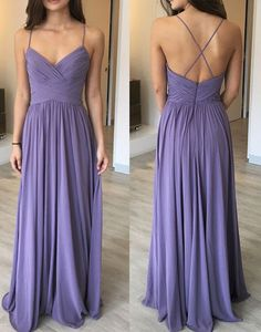 Simple Pretty Straps Chiffon Floor Length Evening Dresses, Simple Prom Dresses, Prom Gowns for Teen