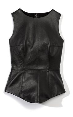 Tibi Leather Peplum Top