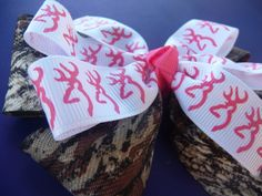Browning Hair Bow and Mossy Oak Camo Hair Bow by bowsforthebelle, $4.95