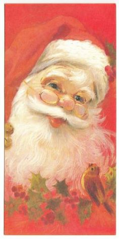 Vintage Santa Claus Talking to Little Bird Christmas Greeting Card
