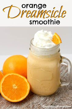 This Orange Dreamsicle Smoothie is cool, refreshing, and oh so delicious! It is guaranteed to leave you satisfied and wanting more! is part of Creamsicle smoothie - Apple Smoothies, Yummy Smoothies, Smoothie Drinks, Yummy Drinks, Healthy Drinks, Healthy Snacks, Making Smoothies, Nutrition Drinks, Smoothies With Yogurt