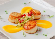 Scallops with Butternut Squash Sauce and Apple Celery Salad, plus a video on food plating