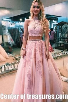 Pink Two Pieces 2019 Evening Dresses Formal Gowns High Neck Lace Keyhole Back A line Tulle Applique Sequin Prom Pageant Dress Cheap Long Quinceanera Dresses, Pink Prom Dresses, Tulle Prom Dress, Cheap Prom Dresses, Prom Party Dresses, Ball Dresses, Ball Gowns, Tulle Lace, Pink Tulle