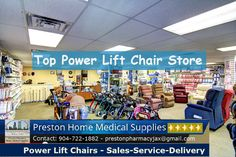 Top Power Lift Chair Store Jacksonville Fl. 904-722-1882 http://www.jacksonvillehomemedicalsupplies.com/power-lift-chairs-pride-serta.html  The power lift chair store at Preston Home Medical Supplies in Jax Fl. has lift chairs which are motorized recliners with a base that can rise off the floor and tilt to help lift the user safely to a standing position.