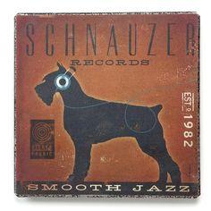 Demdaco Dogs Rock Schnauzer Metal Wall Art - Schnauzer Records. Smooth Jazz. Artwork floats from the wall.