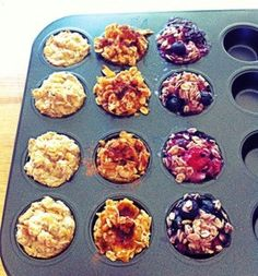 Porridge cakes - freezer friendly maybe, use up purée or very ripe fruit, also tried ricotta and lemon rind with 3 Tbsp oats and almond milk, each recipe made about 3 mini muffins