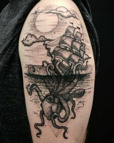 What's your favorite tattoo by 🇺🇸 USA, Arcadia, CA / — Submit your works:… Ocean Tattoos, Whale Tattoos, Octopus Tattoos, Body Art Tattoos, Nautical Tattoos, Unique Tattoos, Beautiful Tattoos, Cool Tattoos, Octopus Tattoo Sleeve