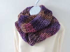 Infinity Scarf Chunky Knit Purple Pink Lilac and Coffee £17.00
