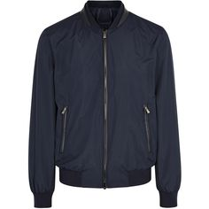 Corneliani Navy Shell Bomber Jacket - Size 40 ($635) ❤ liked on Polyvore featuring men's fashion, men's clothing, men's outerwear, men's jackets, mens navy bomber jacket, mens navy blue bomber jacket, mens navy blue jacket, mens navy jacket and men's shell jacket