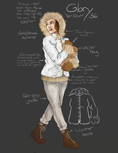Costume renderings for Alfred University's Almost, Maine. To be preformed April 2013. This it the first student-run main-stage production at AU. Directed by Holly Duran, Set design by Nate Gibson, Costume design by Allison Burrell