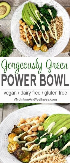 This Green Power Bowl is full of vegan goodness! A delicious budda bowl of whole grains, vegetables, & avocado with a cilantro lime sauce. via @VNutritionist