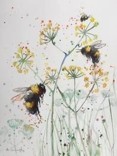 Bee Painting, Watercolour Painting, Painting & Drawing, Painting Tattoo, Watercolor Animals, Watercolor Flowers, Painting Inspiration, Art Inspo, Bee Art